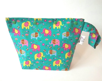 Elephants knitting/spinning/crochet/crafting project bag