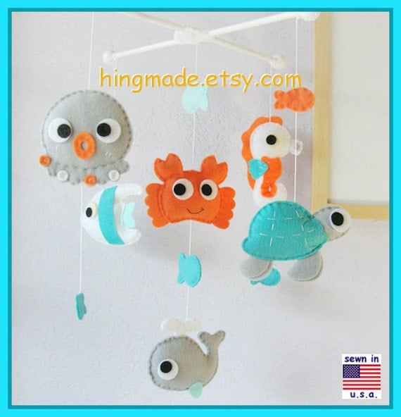 Baby mobile under the sea mobile sea animals mobile crab for Sea animal baby mobile