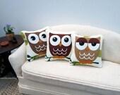 Hoot Owl Pillow - assorted styles - dollhouse miniature