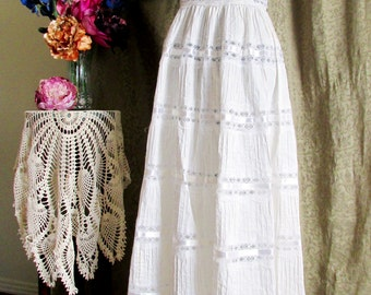 Vintage 1970s Edwardian Style Summer Wedding or Festival Maxi Dress with White Lace Embroidery and Pintucks Size Medium TALL
