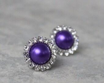 Purple Earrings, Purple Bridesmaid Jewelry, Purple Pearl Earrings, Purple Bridesmaid Earrings, Bridesmaid Earring Gift, Wedding Jewelry