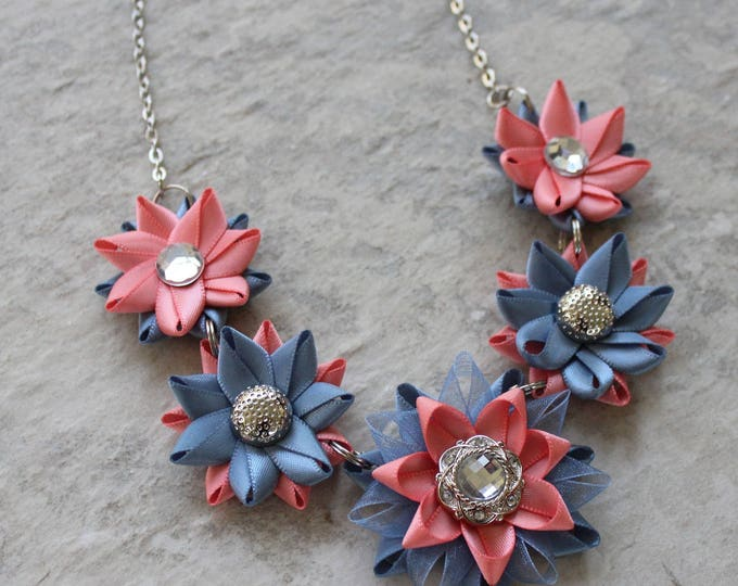 Coral and Antique Blue Necklace
