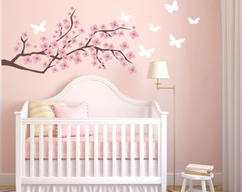 Cherry Blossom Wall Decal Etsy - Nursery wall decals girl