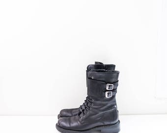 black leather lace up combat buckle boots - women's size 7