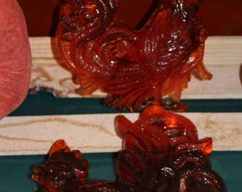 Pair of Lucite Roosters