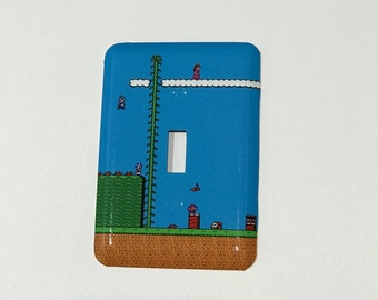 Super Mario Bros Light Switch Plate - Video Game Light Switch Cover - NES Decor