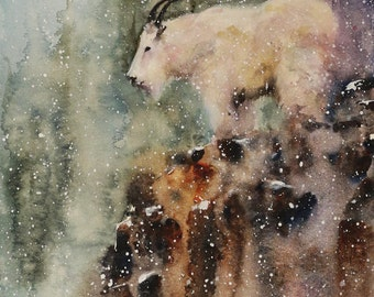 MOUNTAIN GOAT Wildlife Print, Watercolor Painting by Dean Crouser