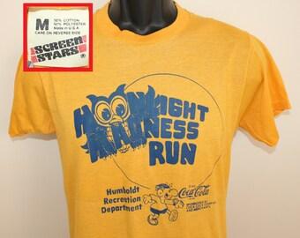 Screen Stars Moonlight Madness Run Humboldt Iowa vintage t-shirt Small yellow 80s soft thin