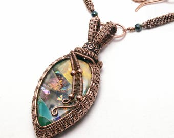 Fused Glass Jewelry, Wire Wrapped Pendant, Wire Wrapping, Wire Weaving, Dichroic Glass, Bohemian Boho, Copper, Earth Tones (Item #10889-P)