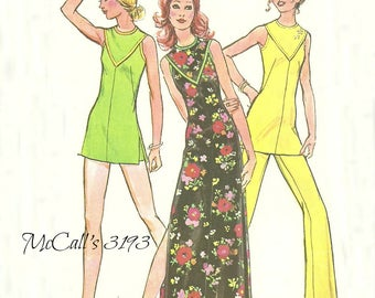 Easy to Make Misses' Dress or Tunic and Pants Pattern 1970s McCall's 3193 Size 16 Bust 38