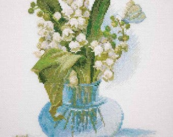 "NEW UNOPENED Russian Counted Cross Stitch kit ""Mary Weaver"" Lily of the valley Flowers"