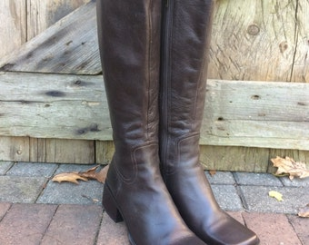 Leather Boots Brown Riding Boots Enzo Angiolini Size 8,5 M