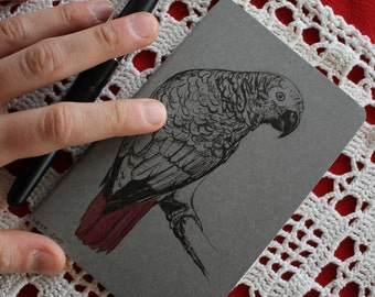 African Grey Parrot - Hand Illustrated Moleskine Pocket Sketchbook / Notebook / Journal