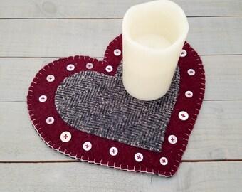 Wool Felt Heart Candle Mat