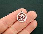 8 Om Charms Antique Silver Tone - SC6772