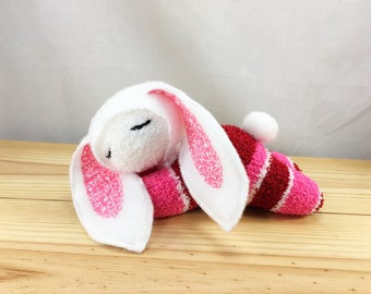Sleepy bunny doll, soft sock doll, plushie