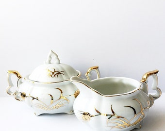 Miniature Cream And Sugar Set Lefton Fine China 1950s Mid Century Vintage Tea Party Serveware Golden Wheat Pattern 20120 Elegant Home Decor