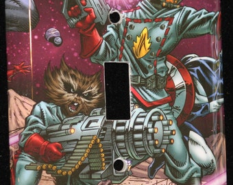 Marvel Guardians of the Galaxy Rocket Raccoon Star Lord Comic Book Switchplate Wall Plate Light Cover