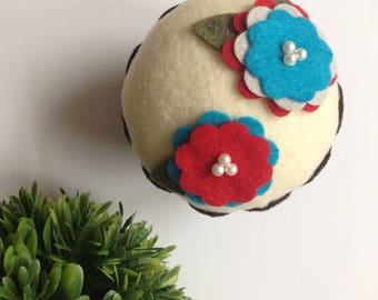 Felt Flower Cupcake (Red/Teal Combo) -  Home Decor, Gifts, Bridal Shower, Pin Cushion, Birthdays, Parties, Thank you Gifts, Hostess, Baker