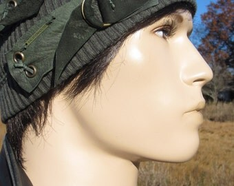 Post Apocalyptic Clothing Slouchy Beanie Hat Olive Green Cotton w/ Distressed Leather Belts Skull Cap  A1972