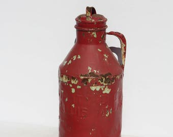 Vintage Antique Creamer Dairy Creamer Milk Can Jug With Lid Red St Louis Farmhouse Rustic Barn Wedding Decor Photo Prop