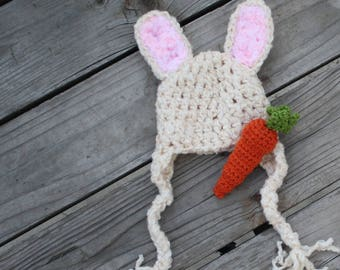 Bunny Ears Hat - READY to SHIP - Easter Photo Prop Rabbit Hat - Easter Gift Idea - Baby Hat - Spring Baby Shower Gift - by JoJo's Bootique
