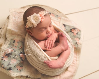 Valentine's Tieback Headband, Pink Blush Cream Tieback, Newborn Photo Prop, Newborn Headband,  Newborn Tie Back, Newborn Lace Tieback Floral