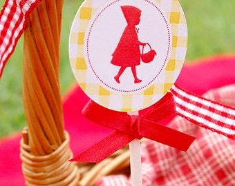 Red Riding Hood Birthday Party Printable Cupcake Toppers by Fara Party Design   Red Riding Hod Silhouette   Toppers