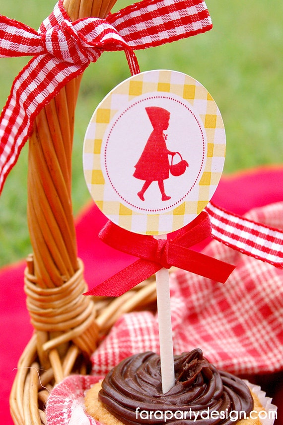 Red Riding Hood Birthday Party Printable Cupcake Toppers by Fara Party Design | Red Riding Hod Silhouette | Toppers