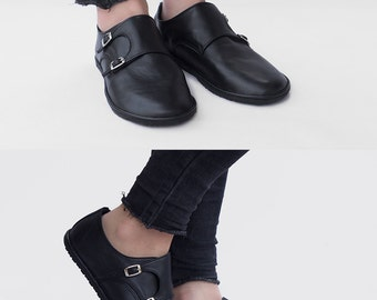 Monk Double Strap - Matte black - Leather Women's Shoes - CUSTOM FIT