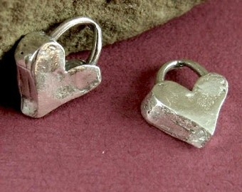Artisan Heart Charms - Chunky Solid Sterling Silver 2 Rustic Organic .925 Hearts - 12mm Rustic Charms Oakhill Silver Supply AC166