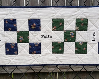 "Quilted Table Runner Rustic Country Western Patchwork with Gingerbread man print and Embroidery ""Faith, Family, and Love"""