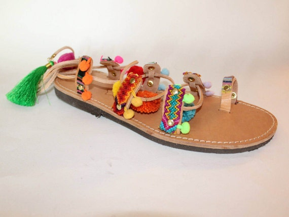FREE SHIPPING!Pompom gladiators , bohemian fashion, womens boho sandals size 41