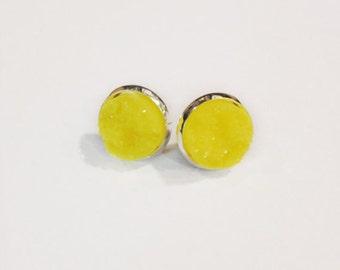 The Druzy Earrings in Yellow | Yellow Druzy Earrings | Yellow Earrings | Sunset Tones Jewelry | Yellow Jewelry | Yellow Druzy Jewelry