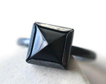 Gothic Gemstone Ring, Black Onyx Pyramid Ring, Oxidized Silver Jewelry, Black Stone, Statement Ring
