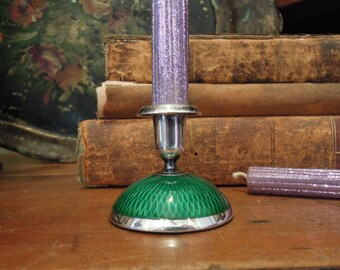 Vintage / Antique NORSK Candlestick Sterling Silver and Guilloche Art Deco Norway Green Enamel Guilloche Candlestick / Small Candlestick