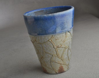 Blue Random Lines Tumbler Ready To Ship Blue Porcelain Tumbler by Symmetrical Pottery