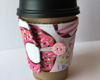 Coffee Cozy- Donut Print Coffee Sleeve- Reusable Coffee Sleeve