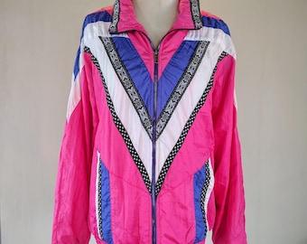 Lavon Hot Pink Striped Windbreaker Track Suit
