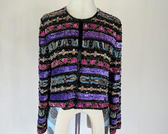 Colorful Striped Sequin Cardigan Jacket Shirt Top Glam