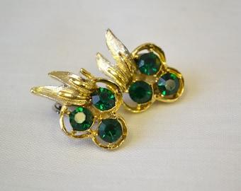 1950s Emerald Rhinestone Clip Earrings