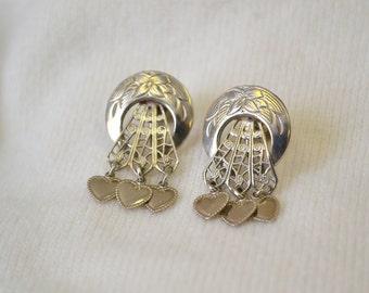 1950s Silver Heart Dangle Screw Back Earrings