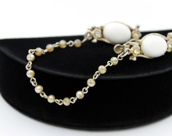 Lovely Sweater Guard or Sweater Clip with Rhinestones and Faux Pearls