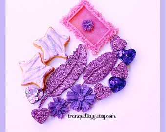 Diy Supply , Resin Purple Sparkly Deco Den Feathers, Heart, Frame , Purple Glitter Resin 15 Piece 100% Handcrafted By: tranquilityy