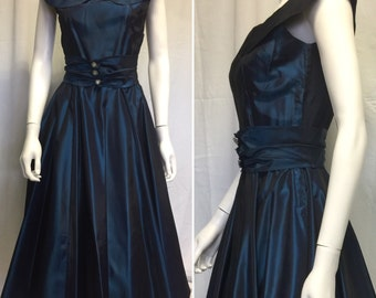 1950s Iridescent Blue Taffeta Party/Prom Dress - Mid Century