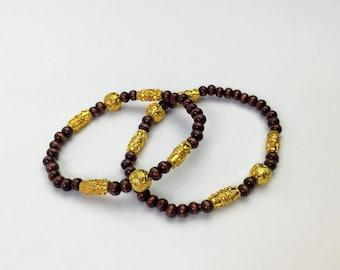 wood bead bracelet thin bead bracelet stacking bracelet unisex bracelet mens bracelet gift for him calming bracelet | Reyna stretch bracelet