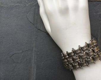 silver cuff bracelet Victorian jewelry book chain medieval armor filigree bracelet thick bracelet chain bracelet | Ada cuff bracelet