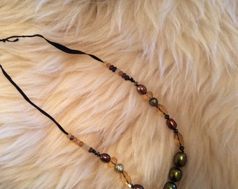 Frosted Glass Bead Swarovski Crystal Ribbon Necklace Witchy Witchy Metaphysical Wiccan