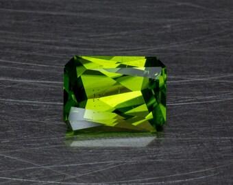 Vivid Apple Green Peridot Loose Natural Untreated Large Rectangular Designer Brilliant Emerald Cut Conflict Free Gemstone
