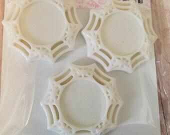 3 White Glitter Spider Web Cameo's